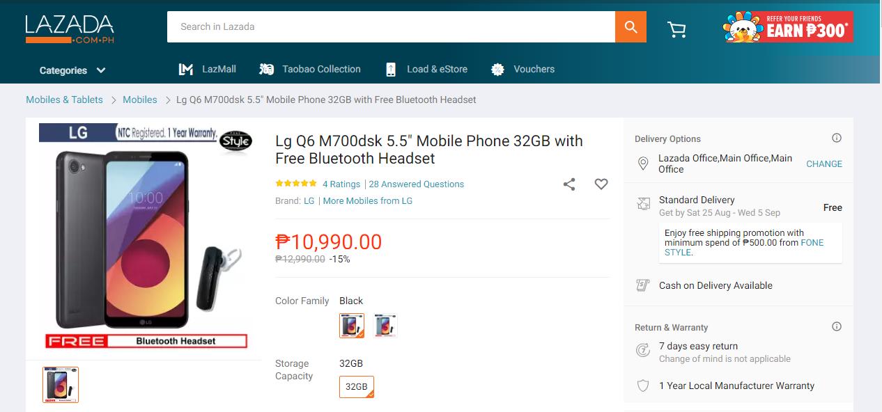 Lazada Phone Example