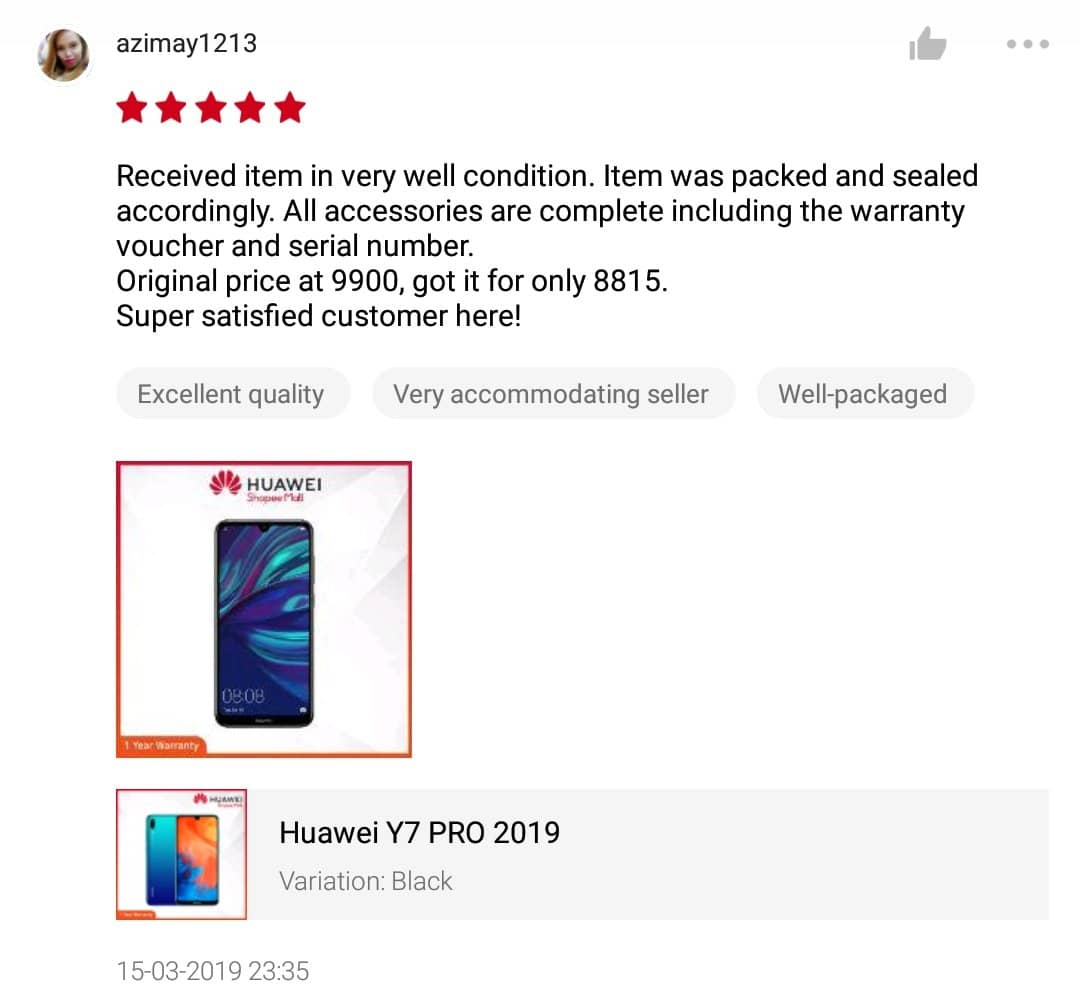 Huawei Y7 Pro Review by user